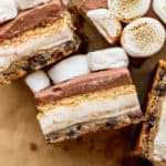 A close up of layered ice cream bars with chocolate and vanilla ready to enjoy