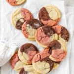 Neapolitan cookies in a beautiful design against white background ready to serve