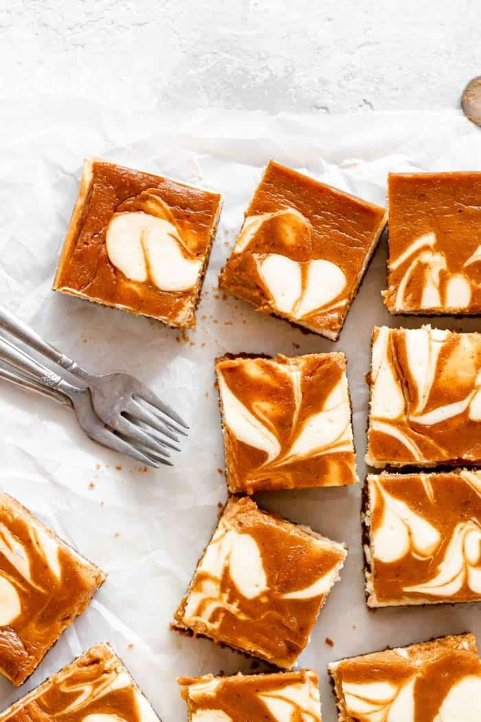 Pumpkin Swirl Cheesecake Bars Grandbaby Cakes