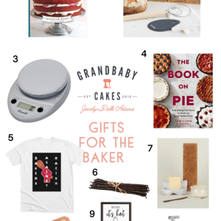 A collage of gift guide presents for the baker in 2020