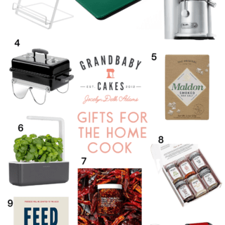A collage of gift guide presents for the home cook in 2020