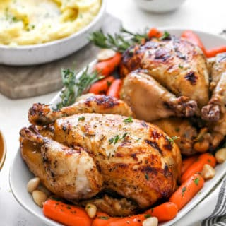 Two spiced cornish hens on a white platter with mashed potatoes and carrots