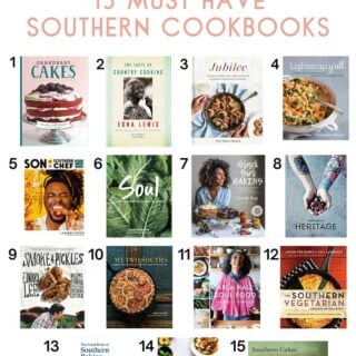 A collage of Southern cookbooks that are must haves for everyone's collection