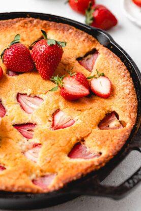 Strawberry Cornmeal Goat Cheese Skillet Cake 10 277x416 - Strawberry Cornmeal Cake (With How To Video)