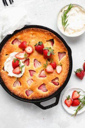 Strawberry Cornmeal Goat Cheese Skillet Cake 6 277x416 - Strawberry Cornmeal Cake (With How To Video)