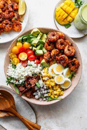 Cobb Salad 1 280x416 - Cobb Salad with Jerk Shrimp