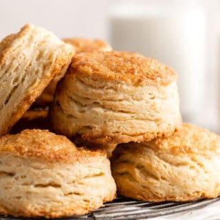 A close u of super flaky biscuits close up
